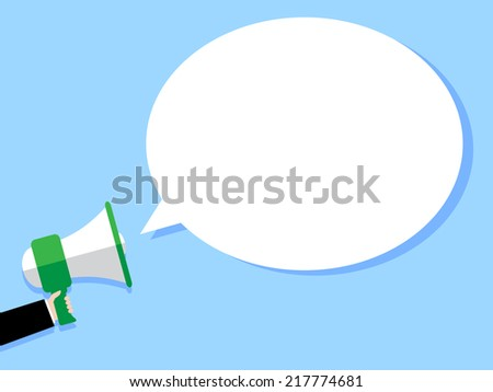Hand holding Megaphone with Speech Bubble - stock vector