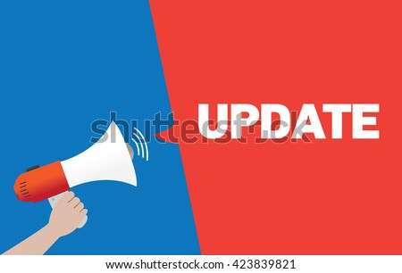 Hand Holding Megaphone with UPDATE Announcement - stock vector
