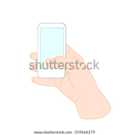 Hand Holding Mobile, arm with cell, color drawing hand with mobile phone - stock vector
