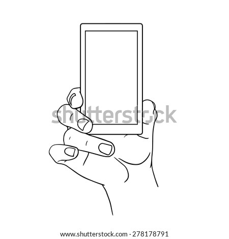 Hand Holding Mobile, arm with cell, line art drawing hand with mobile phone, front view. Vector illustration - stock vector