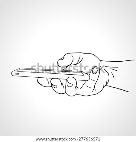 Hand Holding Mobile, arm with cell, line art drawing hand with mobile phone, side view. Vector illustration - stock vector