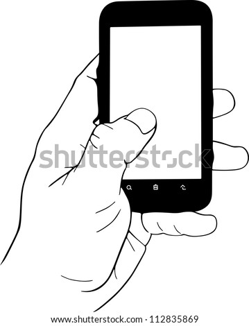 Hand holding mobile phone - stock vector
