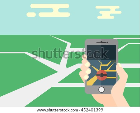 Hand holding mobile phone flat illustration - stock vector