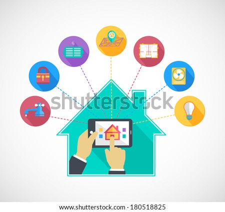 Hand holding mobile phone tablet controls smart home automation technology flat concept vector illustration - stock vector