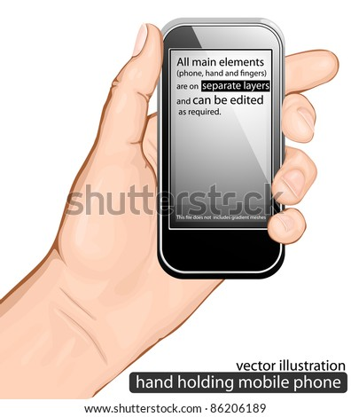 Hand holding mobile phone. vector illustration - stock vector