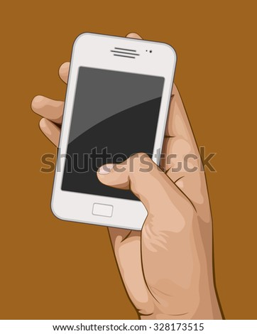 Hand holding mobile phone vector illustration. Saved in EPS 8 file with all related  elements are separated and grouped. Well constructed for easy editing.