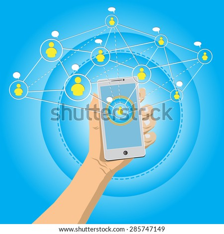 Hand holding mobile phone with connection social media concept-vector - stock vector