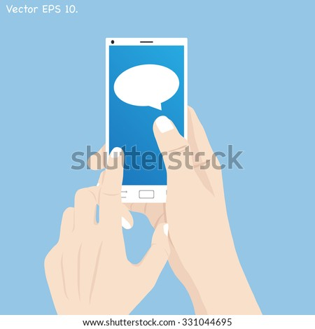 Hand holding mobile phone with Speech Bubbles Design, Vector Illustration EPS 10. - stock vector