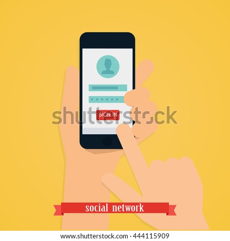 Hand holding mobile smart phone with app. Login form on gadget screen illustration concept. Vector modern flat creative info graphics design. - stock vector