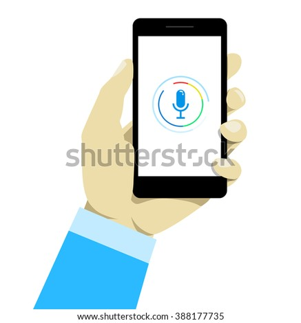 Hand holding mobile smart phone with voice control.  - stock vector