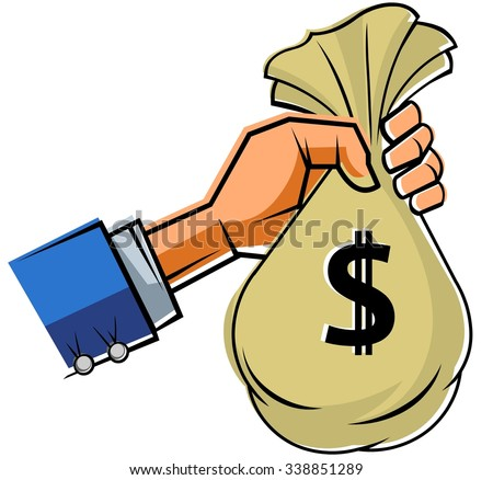 Hand holding Money bag with Dollar Sign - stock vector