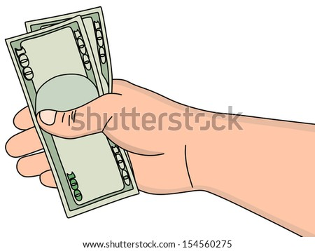 Hand holding money dollars isolated on white background, illustration - stock vector