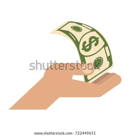 Hand Holding Money Symbol Wealth Success Stock Vector 722449651
