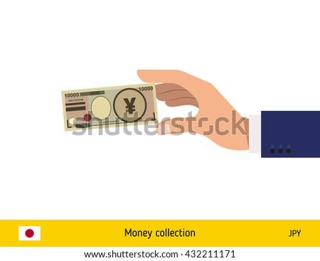 Hand holding money vector illustration. Japanese yen banknote. - stock vector