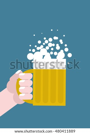 Hand holding mug of beer. Alcohol consumption. Mans arm
