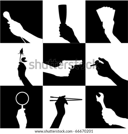 hand holding object - stock vector