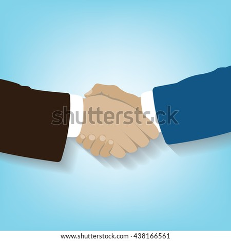 Hand holding on soft blue background, handshake businessman agreement, symbol of cooperation, vector - stock vector