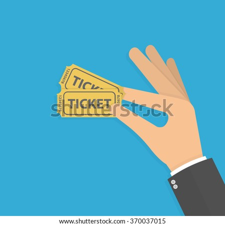 Hand holding or showing tickets. Flat design - stock vector