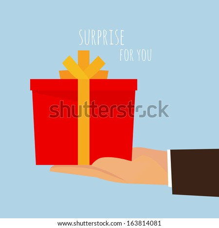 Hand holding out an empty gift box ready for you, vector illustration design. - stock vector