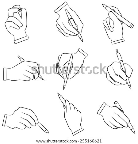 hand holding pen set, hand gestures icons set, sketch line - stock vector