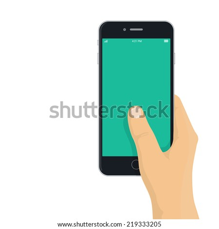 Hand holding phone - flat design illustration for app / mobile web mock-up - stock vector