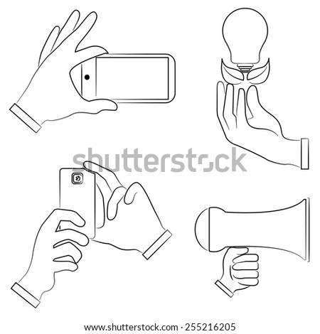 hand holding phone, hand gestures set, sketch hand sign - stock vector
