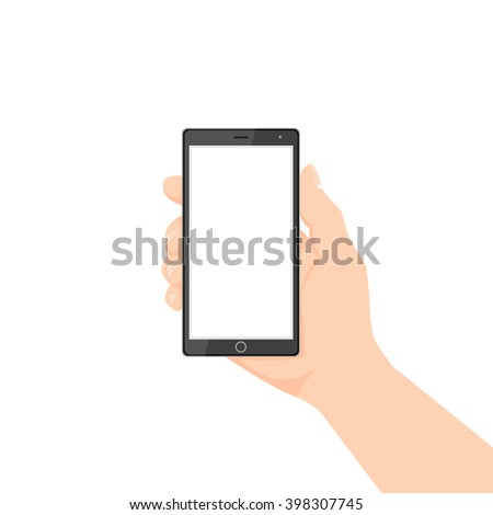 Hand Holding Phone. Hand Holding Phone isolated. Hand Holding Phone with white screen. Isolated female Hand Holding Phone. Hand Holding Phone vector. Hand Holding Phone illustration.  - stock vector