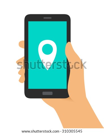 Hand Holding Phone Location Pin Icon - stock vector