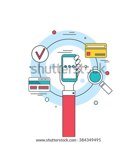 Hand holding phone Social network technology Mobile payment concept banner - stock vector