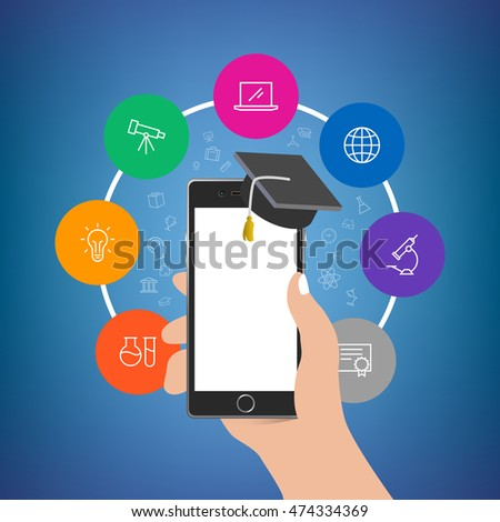 Hand holding phone with academy hat with more colorful icons around. Empty display. Useful for mobile applications, web design, social media advertisement posters, branding, flyers and brochures.