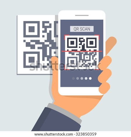 Hand holding phone with app for scanning QR code, flat design illustration - stock vector