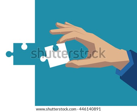 Hand holding piece of puzzle white. Concept business illustration. Vector flat - stock vector