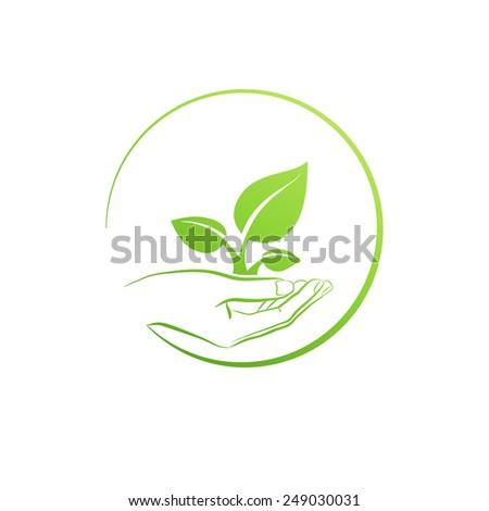Hand holding plant, logo  concept vector illustration - stock vector