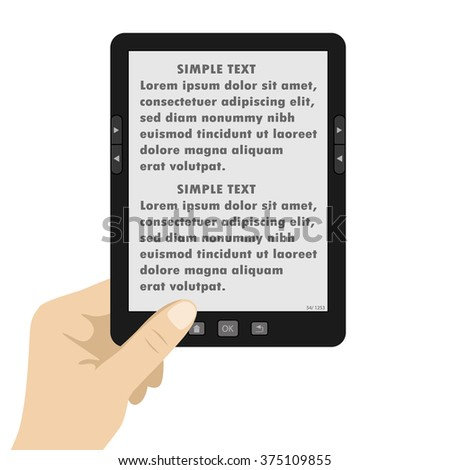Hand holding portable modern tablet  e-book reader,text on screen,vector illustration