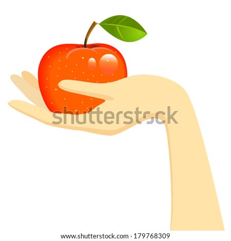 hand holding red apple - stock vector