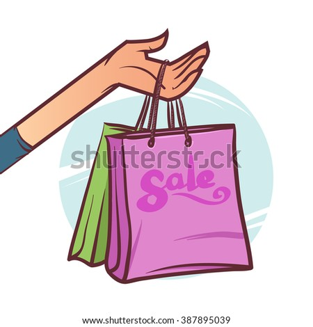 hand holding shopping bags, promote sale, cartoon vector illustration