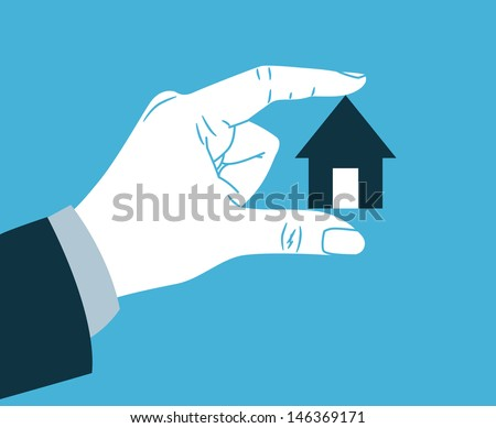 hand holding small house - stock vector