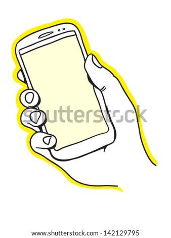 Hand holding smart phone - stock vector