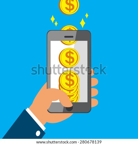 Hand holding smart phone and Earning Big Coins - stock vector