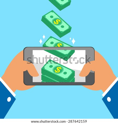 Hand holding smart phone and earning money stacks - stock vector