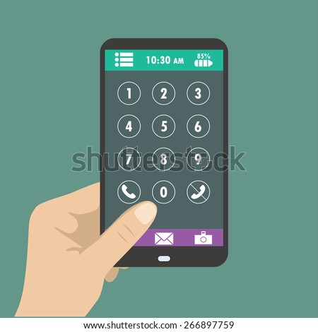 Hand holding smart phone, dial buttons on the screen - stock vector