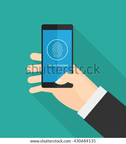 Hand holding smart phone fingerprint security access. - stock vector