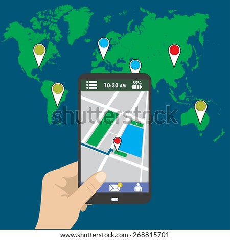 Hand holding smart phone, gps map on mobile, flat design. - stock vector