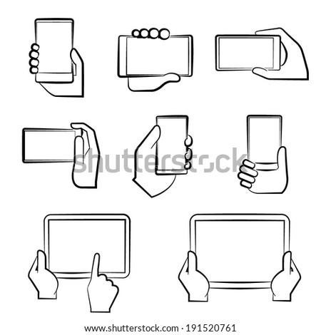hand holding smart phone, hand gesture sign - stock vector