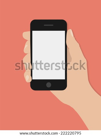 Hand holding smart phone on red background. Flat design  - stock vector