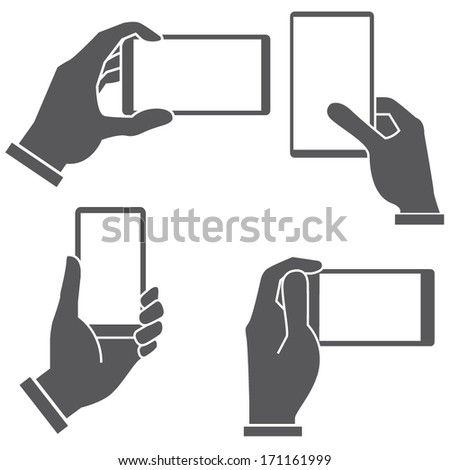 hand holding smart phone set