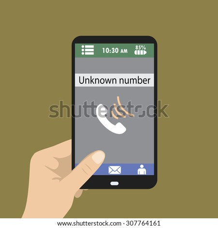 Hand holding smart phone, unknown number on screen, vector - stock vector