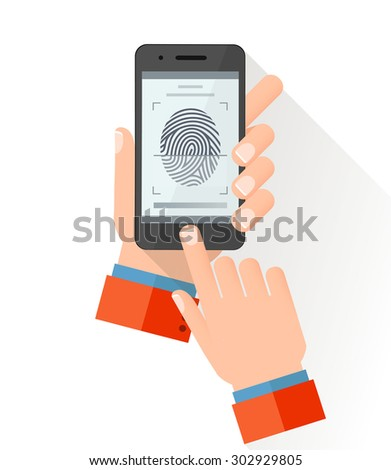Hand holding smart phone with process of scanning fingerprint on the screen. Flat style vector illustration  - stock vector
