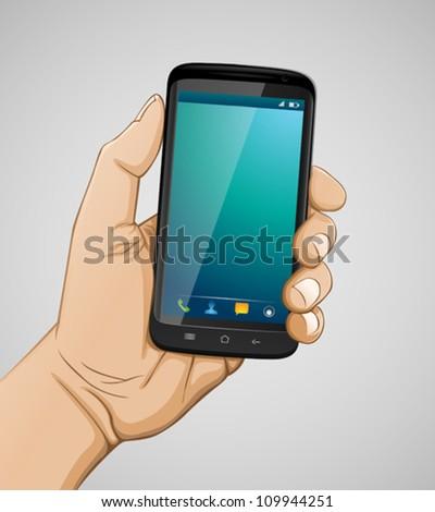 Hand holding smartphone - stock vector