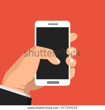 Hand holding smartphone and touching screen. Flat vector illustration.